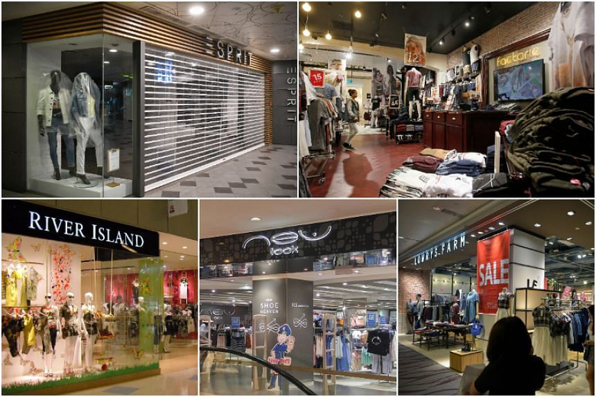 (Clockwise from top left) Esprit, Factorie, Lowrys Farm, New Look and River Island came and went in Singapore.