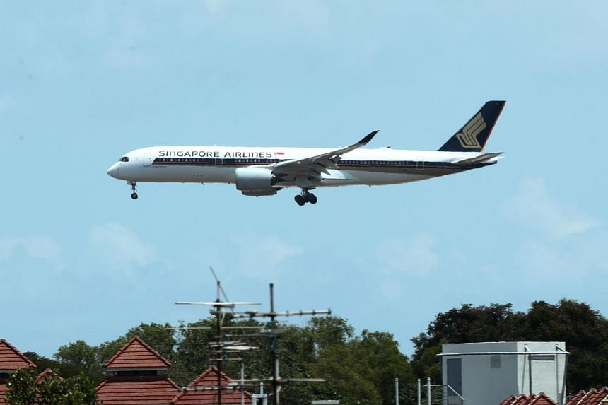 An SIA plane comes in to land at Changi Airport.