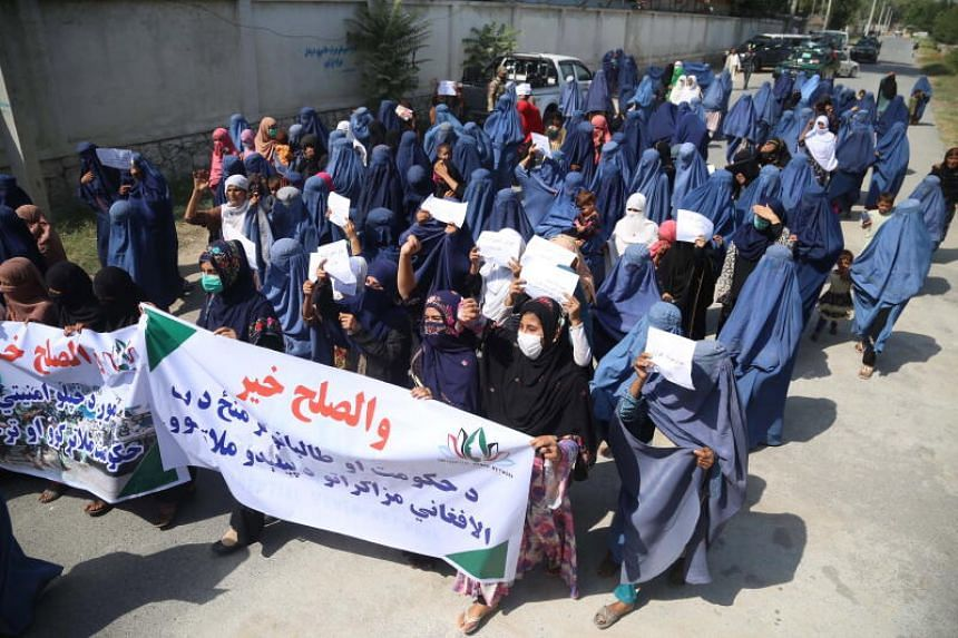 Afghan women demonstrating at a rally to demand peace, in Jalalabad, Afghanistan, on Sept 16, 2020.