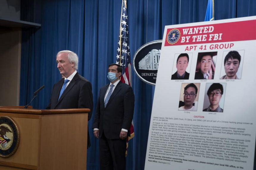 US Deputy Attorney-General Jeffrey Rosen speaking to the media in Washinton on Sept 16, 2020, about arrests related to a hacking campaign by APT-41. Two Malaysians were among those arrested.