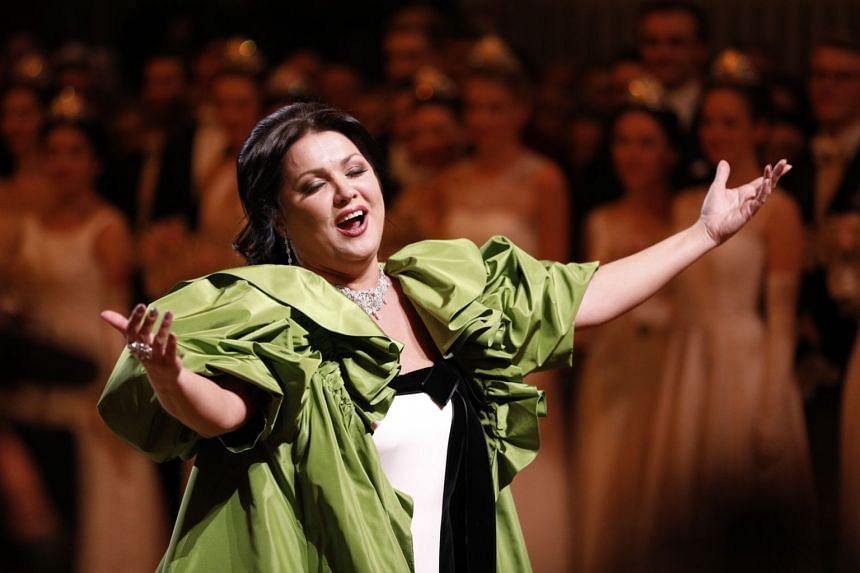 A 2019 photo shows Anna Netrebko performing during the opening ceremony of the Vienna Opera Ball in Austria.