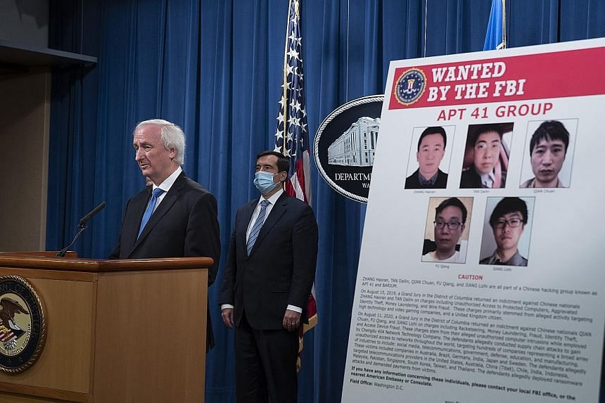 Addressing a news conference in Washington, US Deputy Attorney-General Jeffrey Rosen said Beijing showed a pattern of tolerating criminal activity by hackers who were willing to work for its intelligence services. Prosecutors said five Chinese nation