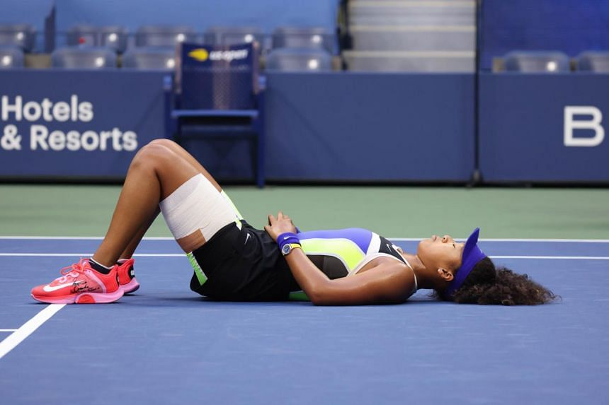 Naomi Osaka had her left hamstring taped when she battled against Victoria Azarenka in the US Open final in New York.