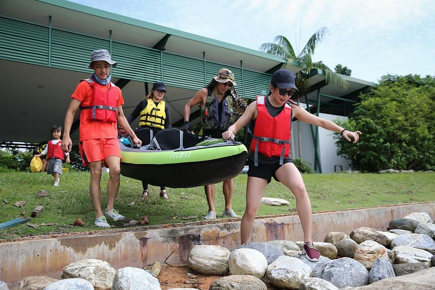 The expedition, which involves using inflatable kayaks, started from Labrador Park and ended at Sentosa, with stops at Tanjong Rimau and Pulau Palawan in between.