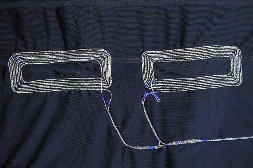 The silver wire induction coil sewed to the garment.