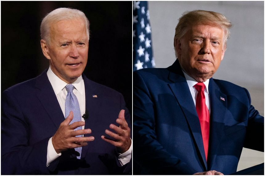 Donald Trump and Joe Biden (left) will campaign in two election battlegrounds on Sept 21, 2020.