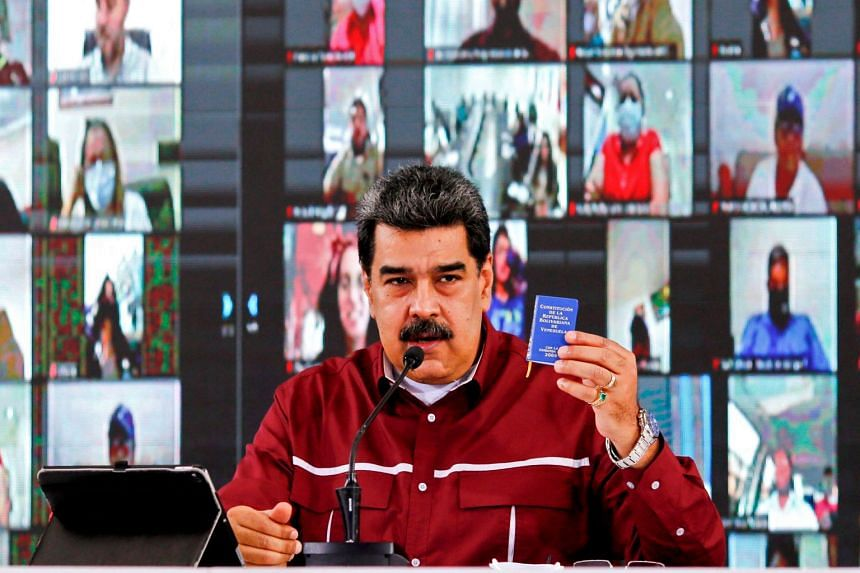 President Nicolas Maduro speaking during a meeting with members of Venezuela's United Socialist Party in Caracas, Sept 17, 2020.