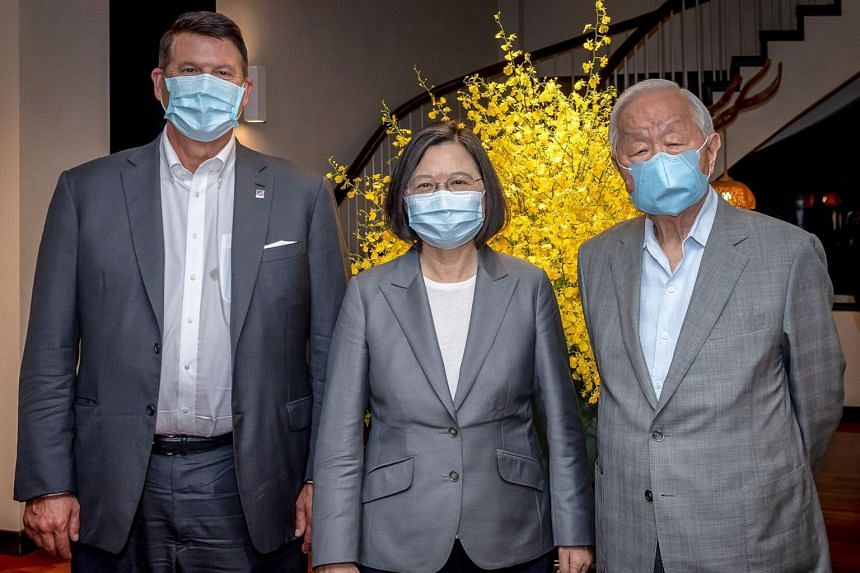 (From left) US Undersecretary for Economic Affairs Keith Krach, Taiwan President Tsai Ing-wen and Taiwan Semiconductor Manufacturing Company founder Morris Chang at the president residency in Taipei on Sept 18, 2020.