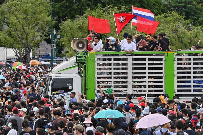 Pro-democracy activists are seen during a rally in Bangkok on Sept 19, 2020.