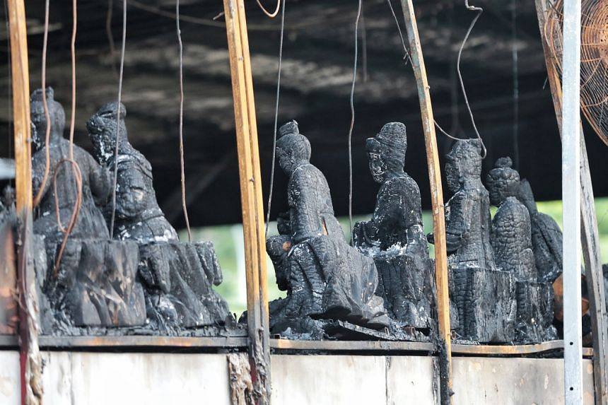 """The statues of all the deities were left """"miraculously"""" intact, said Minister Ong."""
