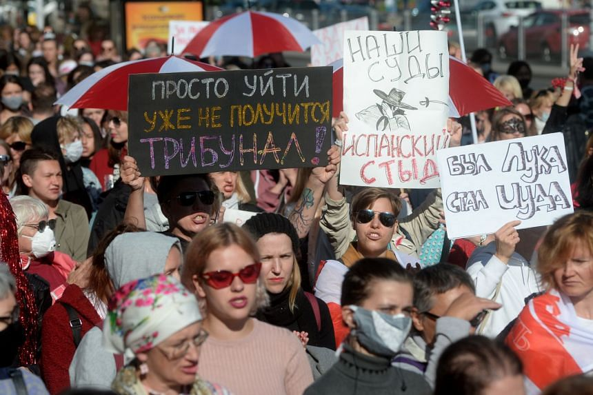 Belarus women protest against the presidential election results in Minsk, Sept 19, 2020.