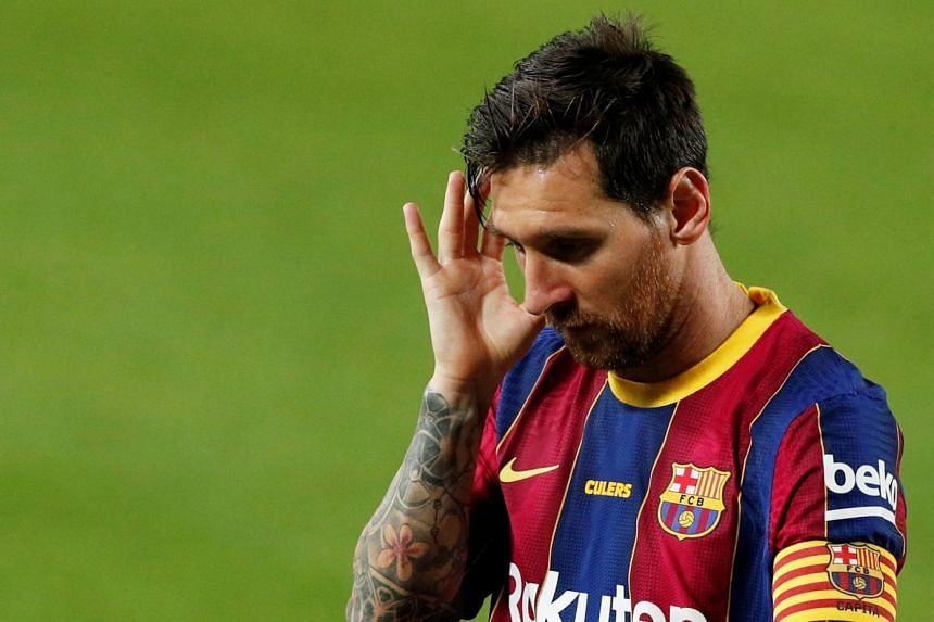 Barcelona's Lionel Messi reacts during a pre-season friendly against Elche.