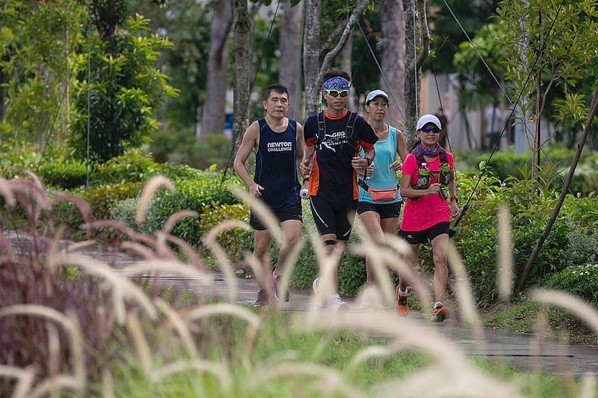 A group of local runners are aiming to raise $5,000 by covering 3,000km over 21 days for this year's Alzheimer's Disease Association's Walk2Remember. They ran 16km yesterday from ADA's New Horizon Centre in Tampines to its branch in Toa Payoh. Held o