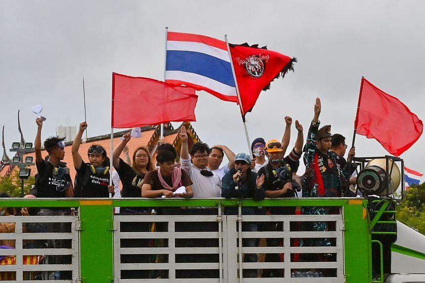A rally was held at Thammasat University's Tha Prachan campus in Bangkok on Sept 19, 2020.