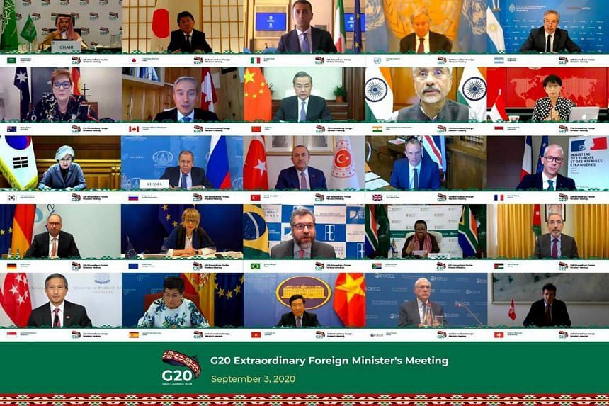 Foreign ministers from various countries attending a virtual meeting to discuss enhancing international cooperation to recover from the impact of the Covid-19 pandemic as well as to prepare for future pandemics, on Sept 3, 2020.