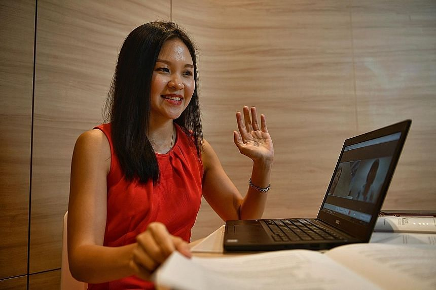 A Great Eastern employee showing how it conducts interviews online. Potential financial representatives must still pass a test and be licensed through the Monetary Authority of Singapore before they are hired.