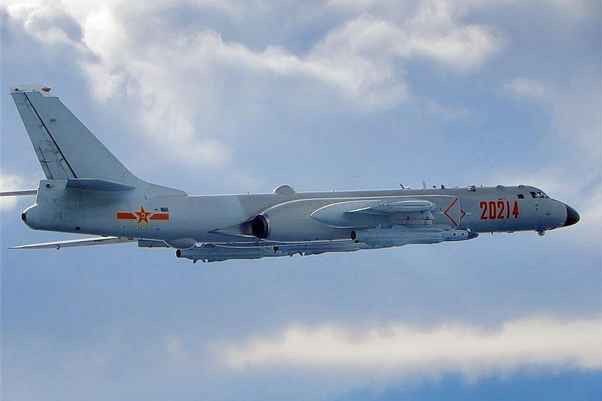 China's air force on Saturday put out a video showing exercises by its nuclear-capable H-6 bombers (above), which have been involved in many Chinese fly-bys of Taiwan.