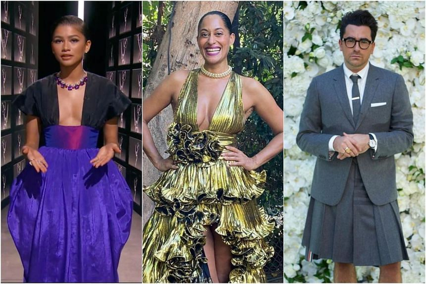 (From left) Zendaya, Tracee Ellis Ross and Dan Levy's looks at the Emmys 2020.