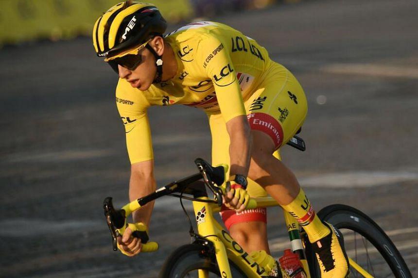 Slovenia's Tadej Pogacar wins the Tour de France on Sept 20, 2020.