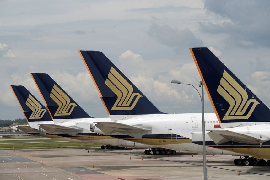 Singapore Airlines planes at Changi Airport on Sept 11, 2020.