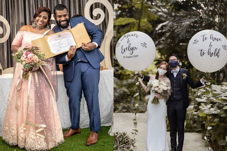 (From left) Ms Vanitha Jayakumar, 31, and Mr Devan Lakshamanan, 34, solemnised their union on Sept 6, after postponing their original April 10 wedding dinner due to circuit breaker measures. Ms Evelyn Fong, 25, and Mr Josiah Koh, 27, tied the knot on