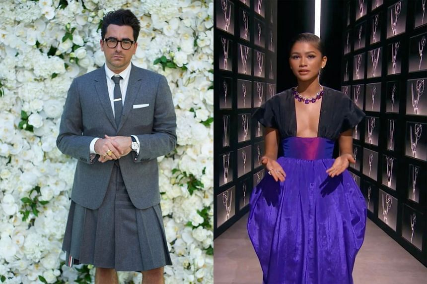 Dan Levy is patting himself on the back right now for his choice of a breezy Thom Browne kilt while Zendaya in Christopher John Rogers' dress.