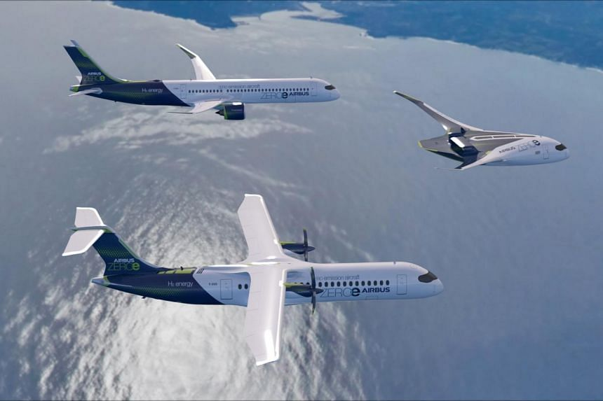 The designs include a turbofan jet with capacity for as many as 200 passengers, a propeller plane which would seat about 100 passengers and a flying-wing concept with 200 seats.