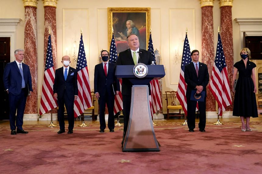 US Secretary of State Mike Pompeo announces the Trump administration's restoration of sanctions on Iran, on Sept 21, 2020.