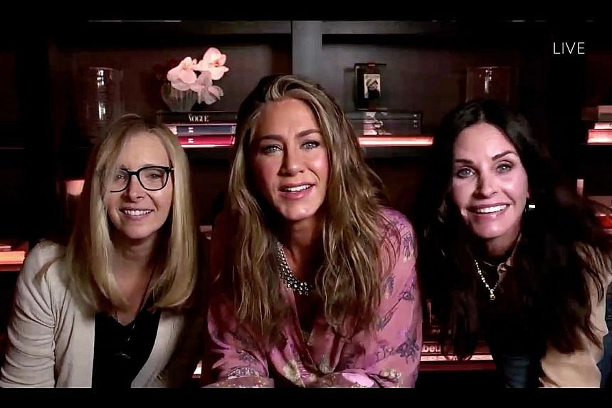 From left: Lisa Kudrow, Jennifer Aniston and Courteney Cox in a cheeky video call aired on the Emmys.