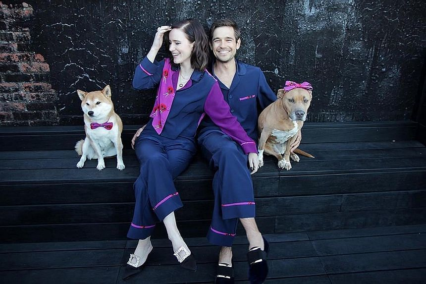 Points to Rachel Brosnahan and her husband Jason Ralph for matching hers and his custom Christy Rilling pyjamas, with the pattern echoed on their dogs' bow ties.