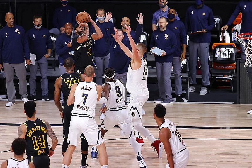 Anthony Davis taking the LA Lakers' winning shot in Game 2 of the Western Conference Finals against Denver at Disney World in Florida on Sunday.