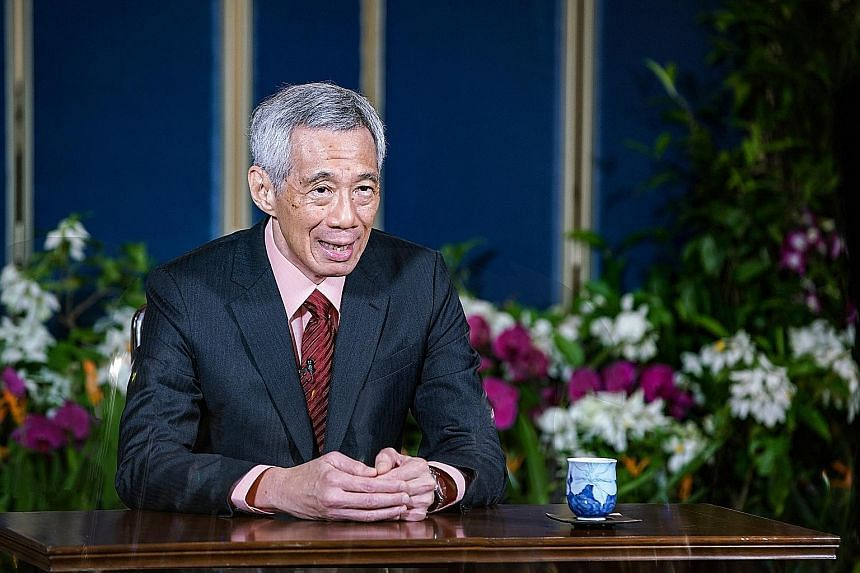 Prime Minister Lee Hsien Loong at the recording of his message for the High-Level Meeting to commemorate the 75th anniversary of the United Nations. In his remarks, he called on members to work together to update and reform multilateral institutions