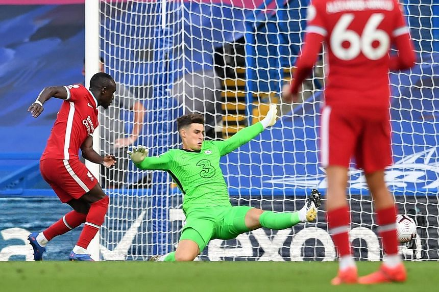 Sadio Mane tapping the ball into an empty net for Liverpool's second goal, after Chelsea goalkeeper Kepa Arrizabalaga cleared straight into the Senegalese striker's path.