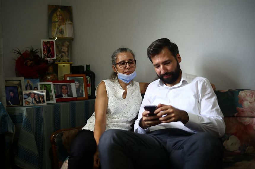 Elie Hasrouty and his mother Ibtissam in the family home in Beirut, Lebanon, on Aug 9, 2020.