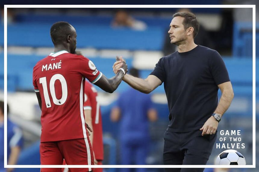 Chelsea's manager Frank Lampard (R) greets Sadio Mane of Liverpool at the end of the English Premier League match between Chelsea vs Liverpool in London, Britain, 20 September 2020.
