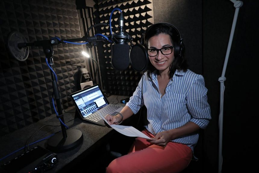 Voice talent Lyra Beins-Stewart in her acoustically treated booth built in her son's bedroom on Sept 18, 2020.