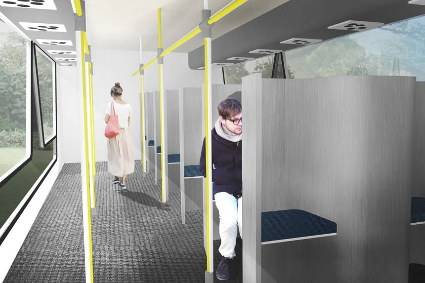 Mr Ryan Teo and three other university students designed the Futurebus, which - among other features - has seats that are arranged such that no two commuters sitting side by side face the same direction. Mr Teo said the bus' design could make public