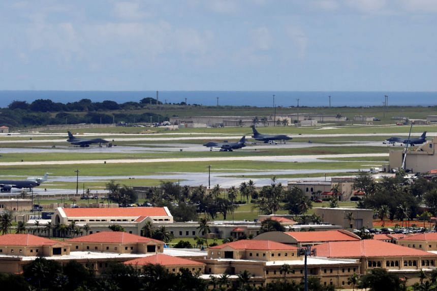 US military planes parked on the tarmac of Andersen Air Force base on the island of Guam, a US Pacific Territory, in 2017. China is locked with the US in a power struggle over defence, technology, trade, disputed seas and the status of Hong Kong and