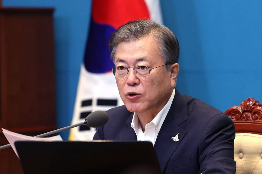 Moon Jae-in attends a Cabinet meeting via video conference in Seoul South Korea, Sept 22, 2020.