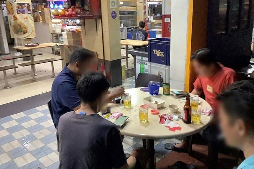 The three F&B outlets ordered to close for 10 days are (from top) a coffee shop drinks outlet at Block 261 Serangoon Central Drive, where patrons were seen drinking alcohol after 10.30pm; Beer Factory at 25 Church Street, where three groups of more t