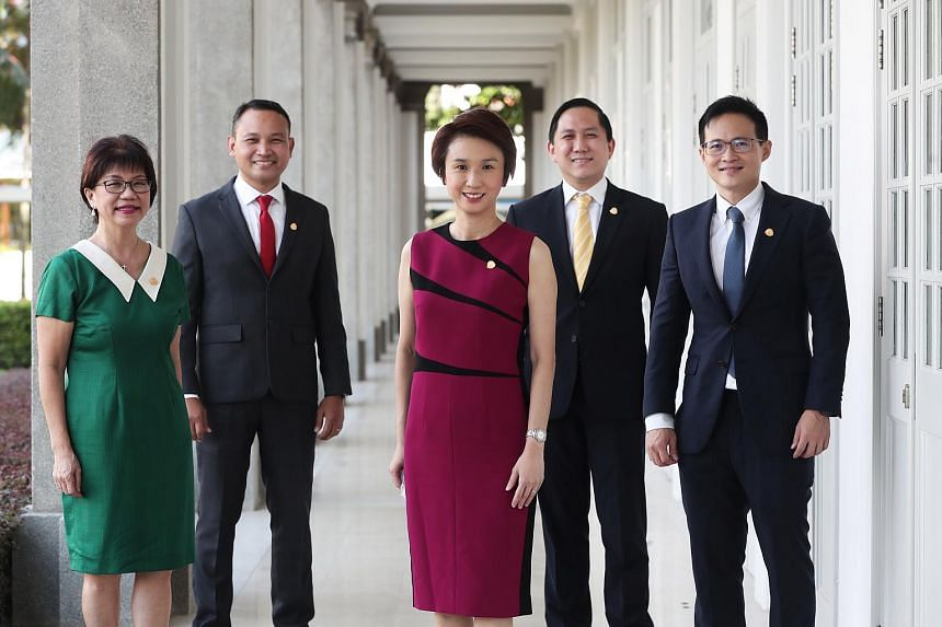 (From left) Central Singapore CDC Mayor Denise Phua, South East CDC Mayor Fahmi Aliman, Mayors' Committee Chairman and South West CDC Mayor Low Yen Ling, North West CDC Mayor Alex Yam and North East CDC Mayor Desmond Choo.