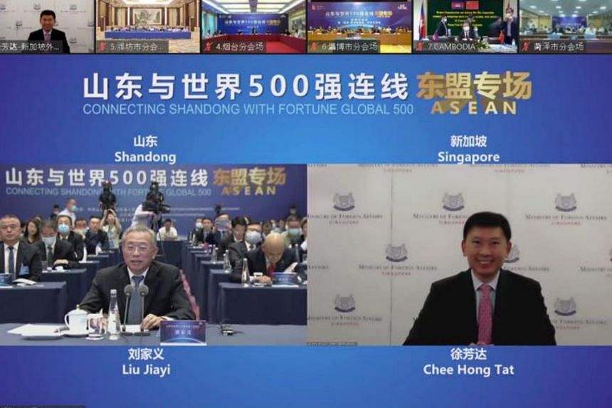 Senior Minister of State for Foreign Affairs and Transport Chee Hong Tat and Shandong Provincial Party Secretary Liu Jia Yi encouraged Singapore companies to continue investing in Shandong.