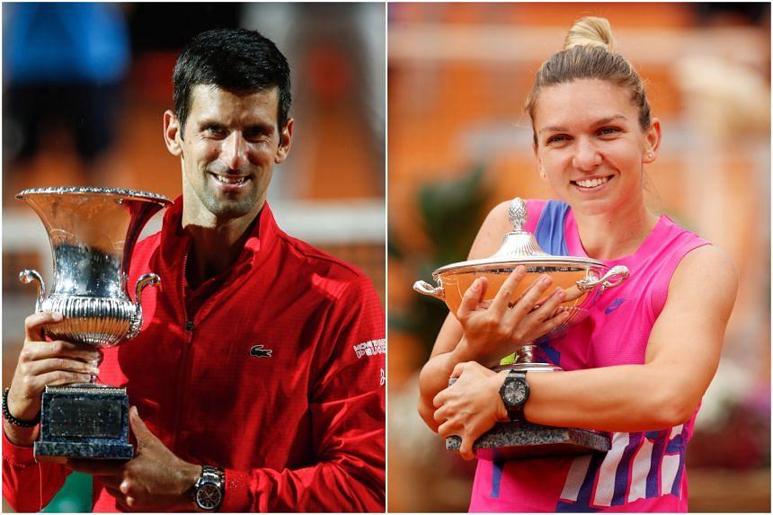 Novak Djokovic (left) received €205,200 for his triumph, while Simona Halep (right) won €10 less.