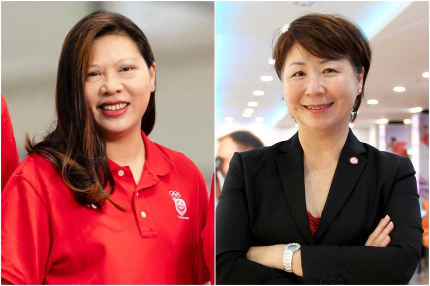 (From left) Fencing chief Juliana Seow and bowling president Jessie Phua.