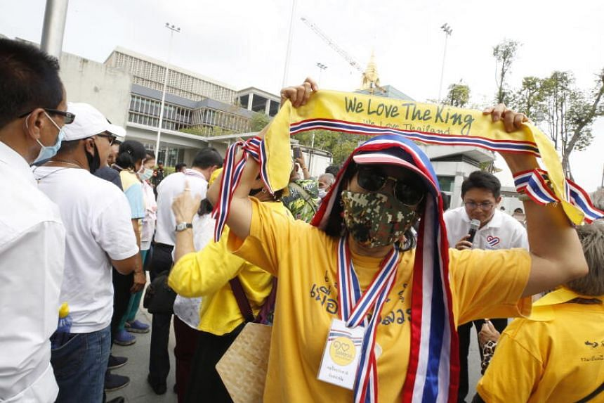 A Thai royalist and pro-government supporter during a rally in Bangkok on Sept 23, 2020.