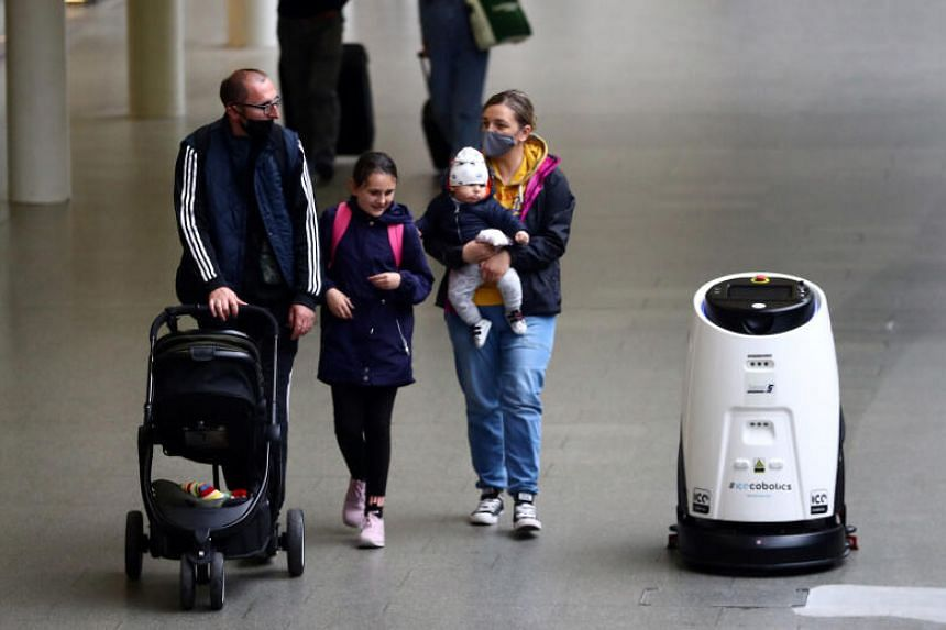 The robots use ultraviolet light to sweep large areas without the need for chemical disinfectant.