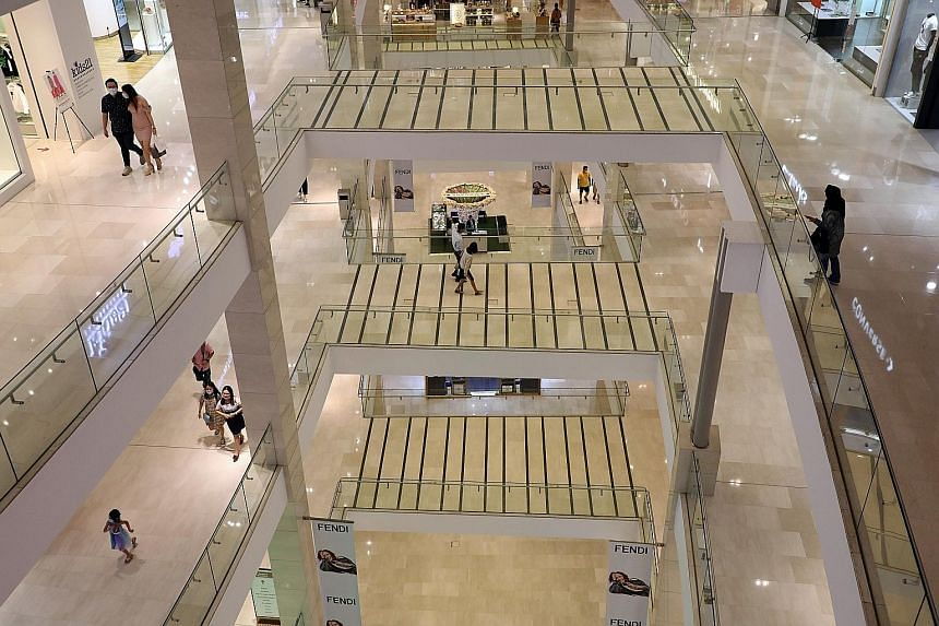 Few shoppers were seen at a mall in Kuala Lumpur on Monday. The government's additional stimulus package includes RM7 billion (S$2.3 billion) in cash aid, assistance for small businesses and a wage subsidy scheme to help industries and Malaysians bad