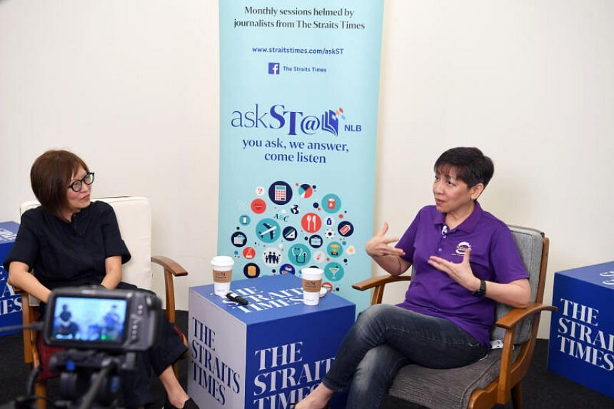 Brahm Centre founder Angie Chew (right) with ST journalist Joyce Teo during an askST@NLB session.