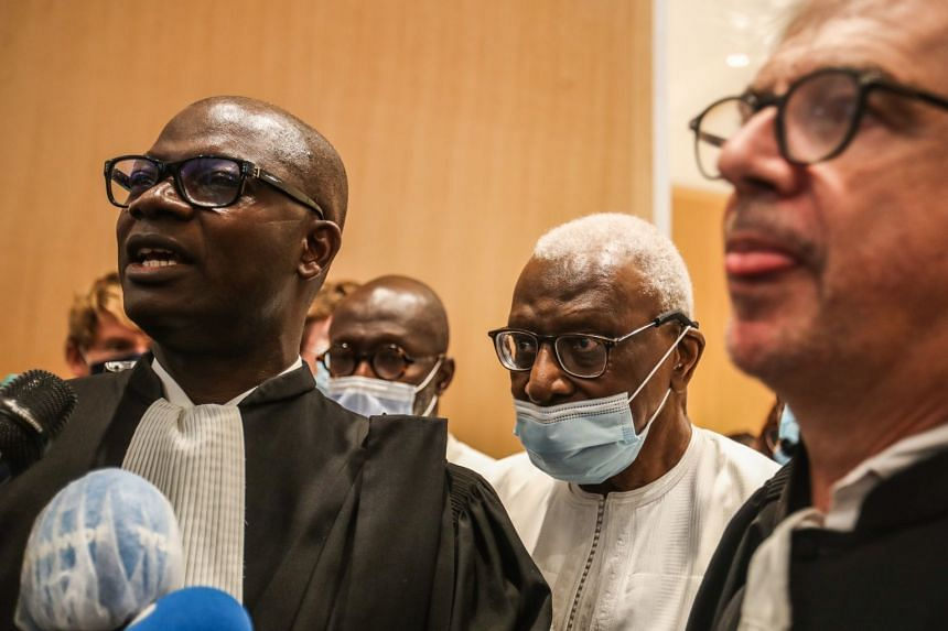 Ex-IAAF chief Lamine Diack leaving the courtrooom in Paris on Sept 16, 2020 after being sentenced to two years in prison.