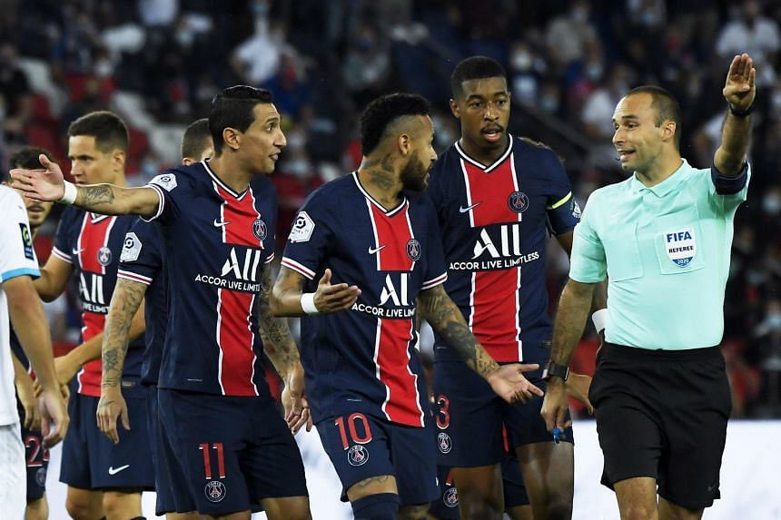 Brazil star Neymar (No. 10) was one of three PSG players sent off after a brawl was sparked during their 1-0 Ligue 1 loss to Marseille on Sept 13.